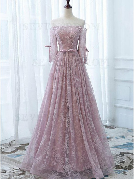 A-Line Off-the-Shoulder 3/4 Sleeves Pink Lace Prom Dress with Sash
