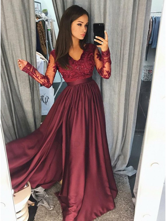 A-Line V-Neck Long Sleeves Burgundy Prom Dress with Appliques Split