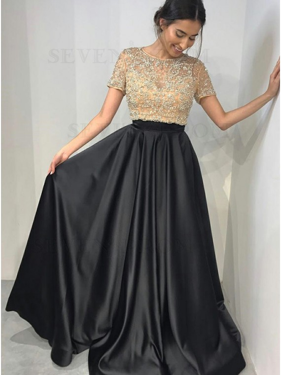 A-Line Round Neck Sweep Train Black Prom Dress with Beading
