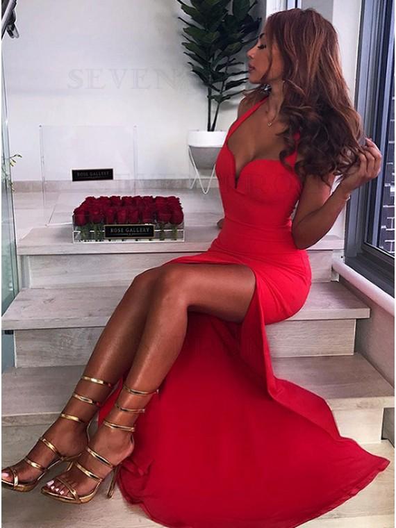 Mermaid Halter Backless Floor-Length Red Prom Dress with Split
