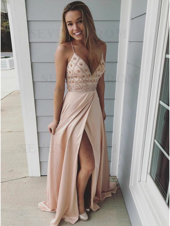 A-Line Spaghetti Straps Backless Champagne Prom Dress with Beading