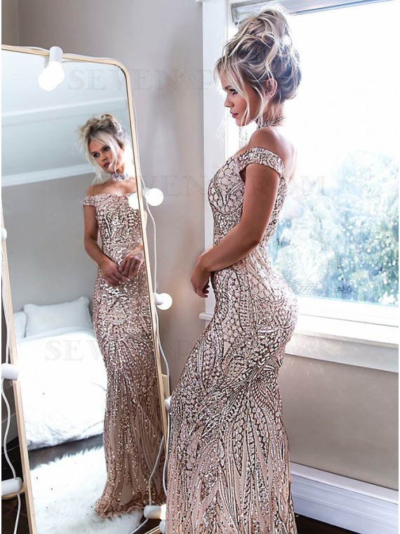 Mermaid Off-the-Shoulder Floor-Length Champagne Prom Dress with Sequins