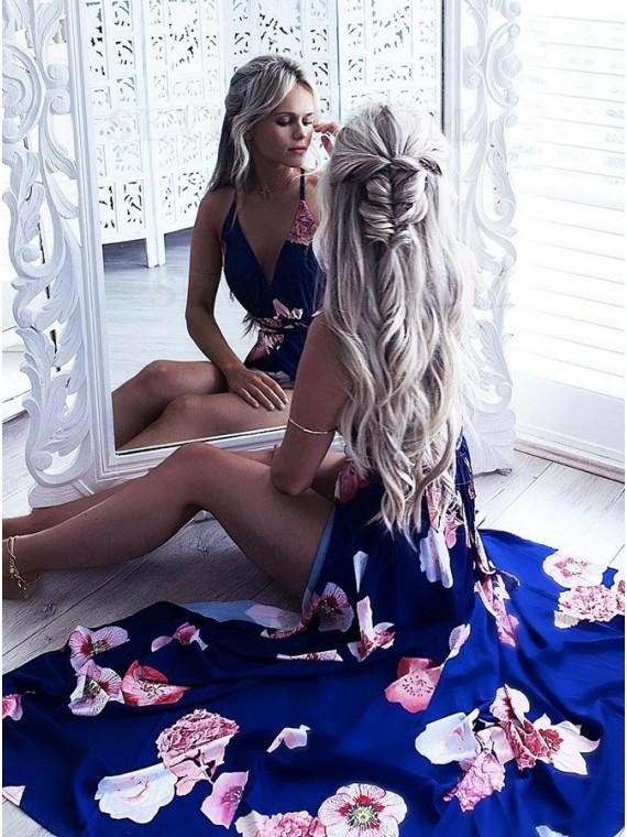 A-Line Spaghetti Straps Floor-Length Blue Floral Prom Dress
