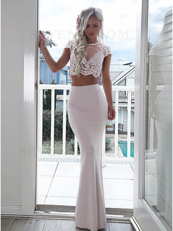 Two Piece Round Neck Cap Sleeves Ivory Prom Dress with Lace