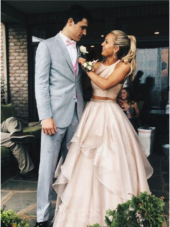 Two Piece Round Neck Long Pink Organza Prom Dress with Beading