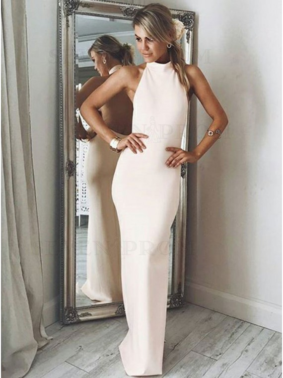 Sheath Halter Long Pearl Pink Prom Dress with Split Backless Party Dress
