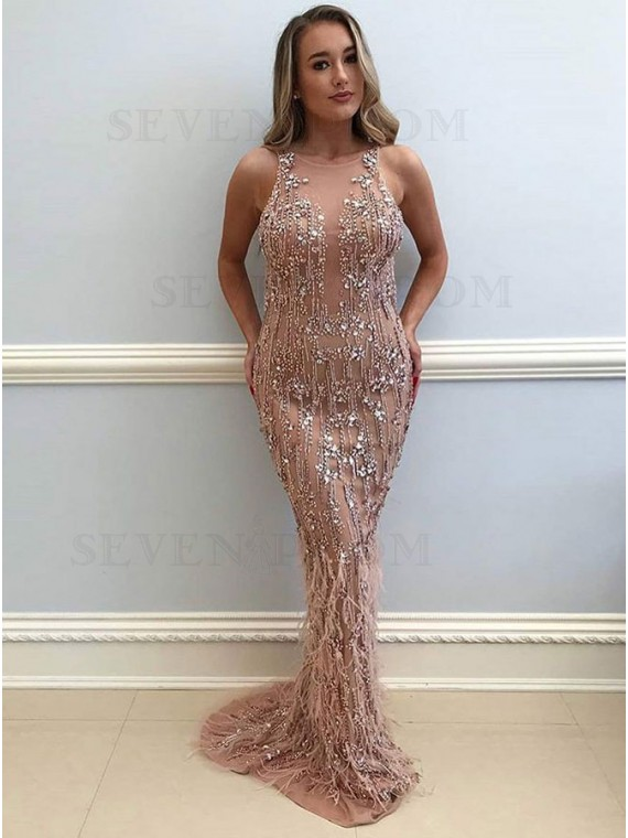 Mermaid Round Neck Champagne Long Prom Dress with Beading