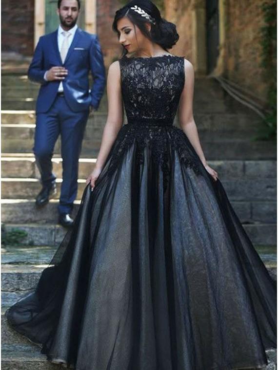 Elegant Bateau Sleeveless Black Evening Dress with Appliques Long Prom Dress