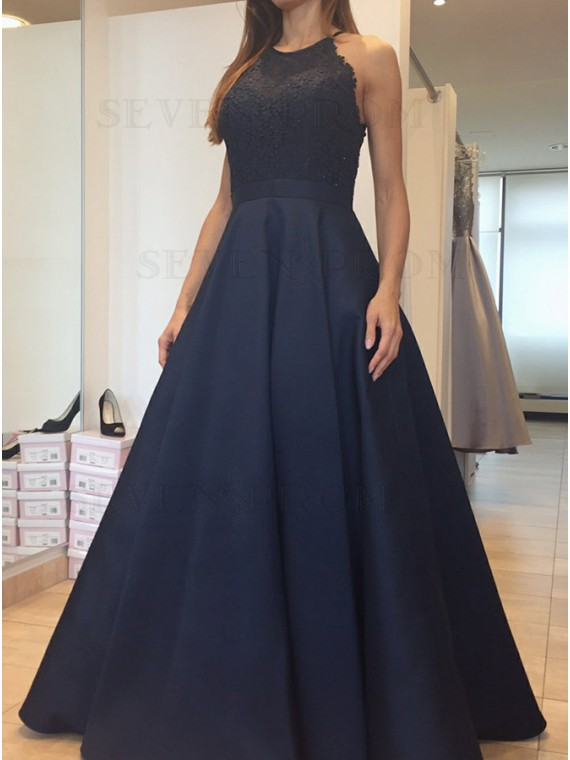 A-Line Round Neck Open Back Dark Navy Prom Dress with Lace