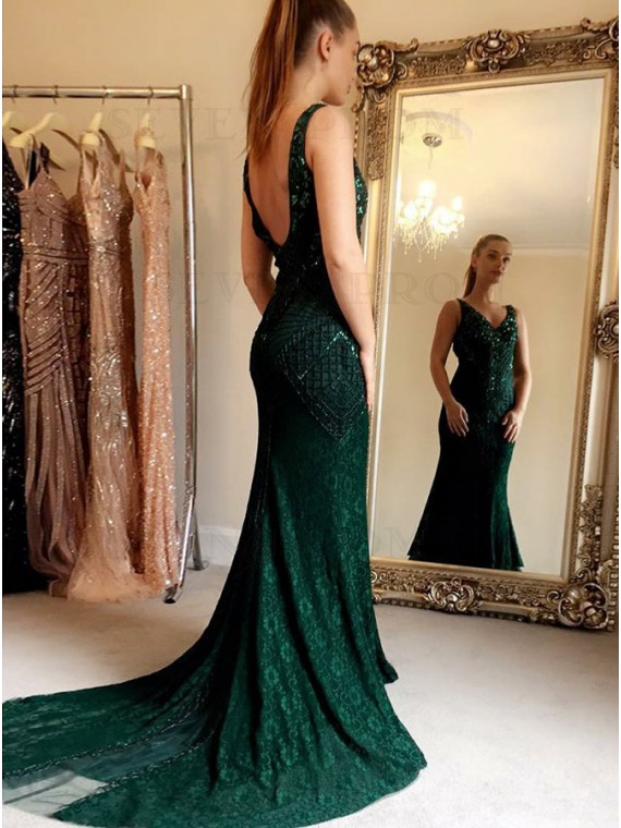 Mermaid V-Neck Backless Hunter Lace Prom Dress with Sequins