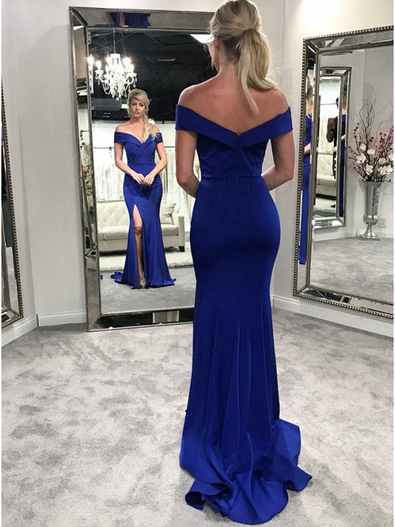 Mermaid Off-the-Shoulder Long Royal Blue Prom Dress with Split