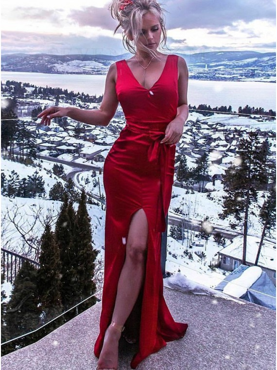 Mermaid V-Neck Dark Red Long Prom Dress with Split Backless Formal Dress
