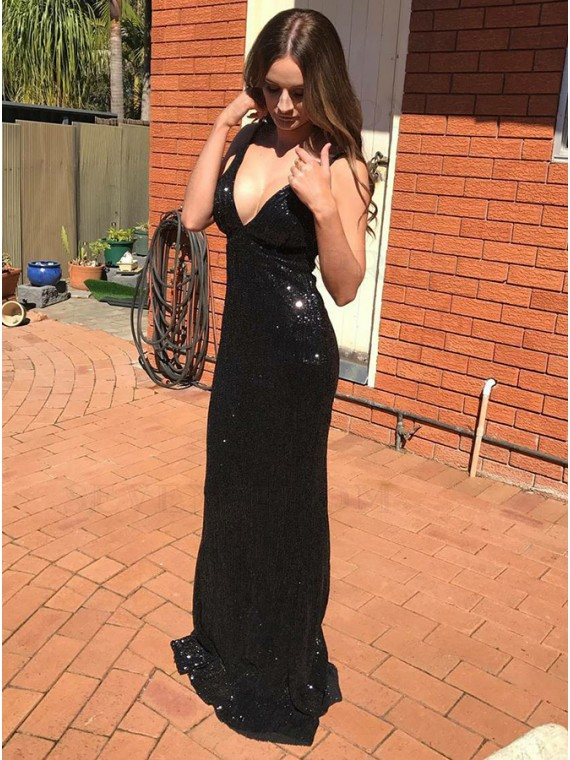 Mermaid Spaghetti Straps Backless Long Black Sequined Prom Dress