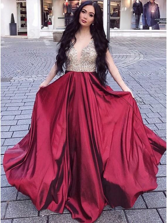 A-Line V-Neck Floor-Length Burgundy Prom Dress with Beading