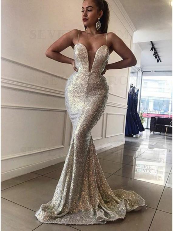 Mermaid Spaghetti Straps Sweep Train Silver Sequined Prom Dress