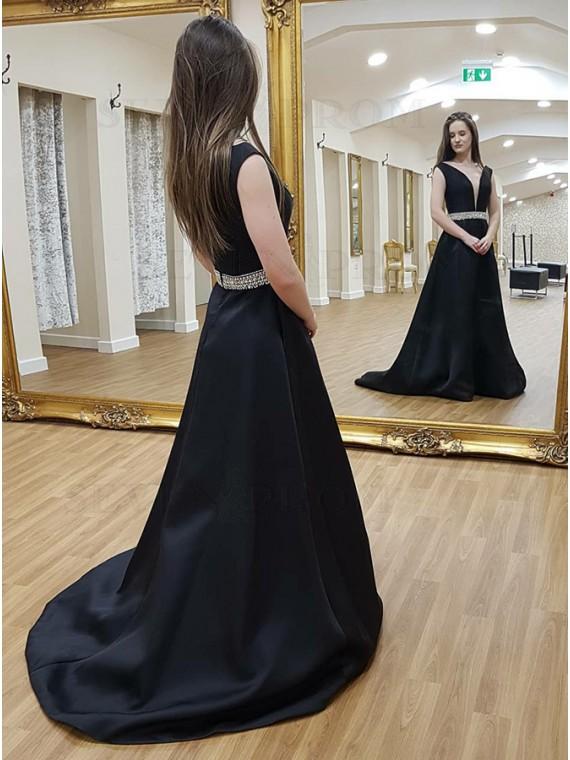 A-Line V-Neck Sweep Train Black Satin Formal Dress with Beading