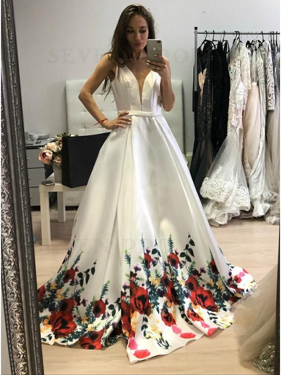 A-Line Deep V-Neck Backless Long White Floral Satin Prom Dress