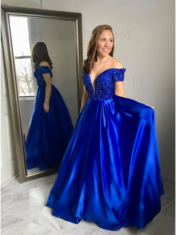 A-Line Off-the-Shoulder Floor-Length Royal Blue Prom Dress with Beading