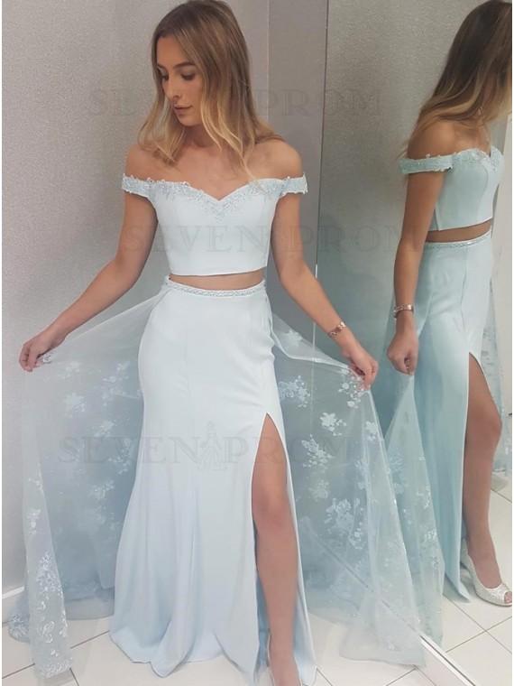 Two Piece Off-the-Shoulder Blue Detachable Prom Dress with Appliques Split
