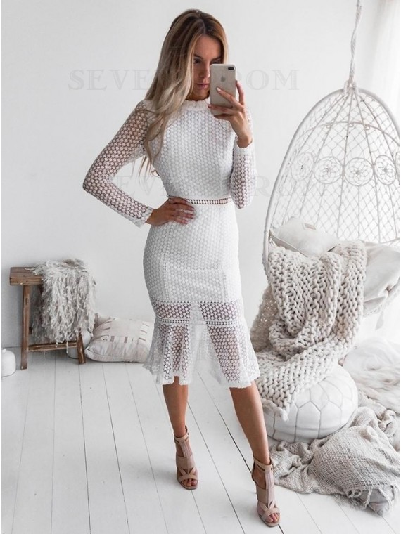 Mermaid High Neck Long Sleeves Open Back White Lace Homecoming Dress