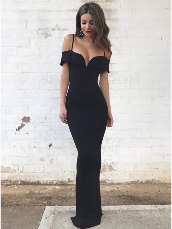 Elegant Mermaid Cold Shoulder Long Black Prom Dress with Sleeves