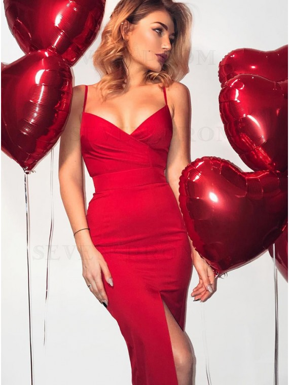 Mermaid Spaghetti Strap Red Satin Evening Dress with Ruched Split