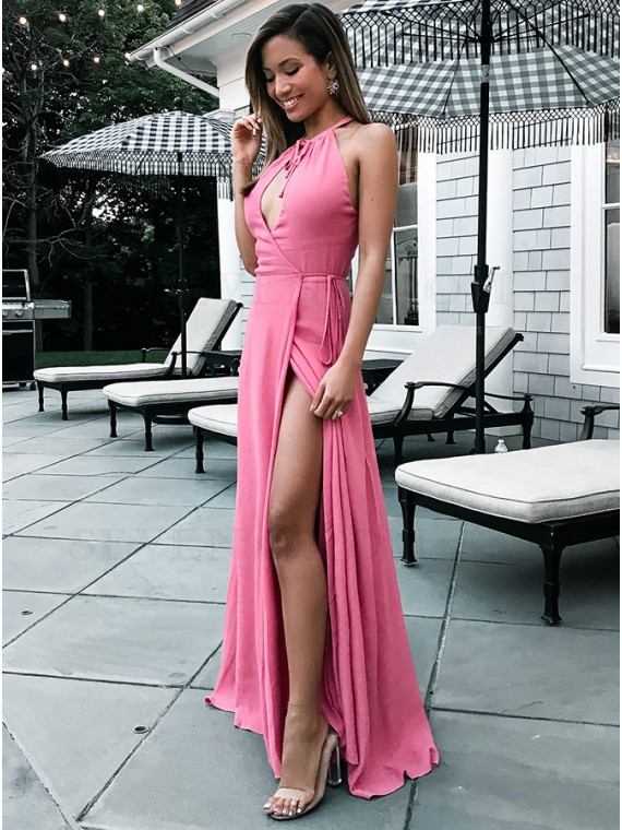 Sheath Round Neck Keyhole Pink Elastic Satin Prom Dress Eveing Gown with Split