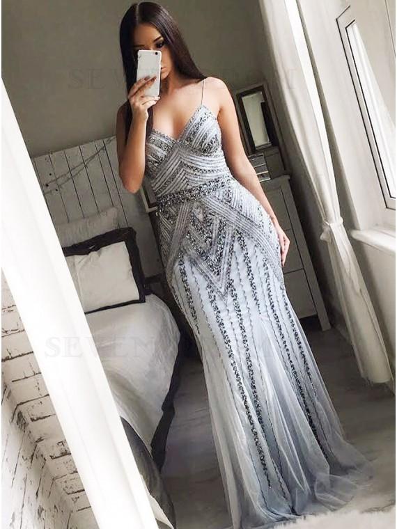 Sheath Spaghetti Straps Floor-Length Grey Prom Dress with Beading