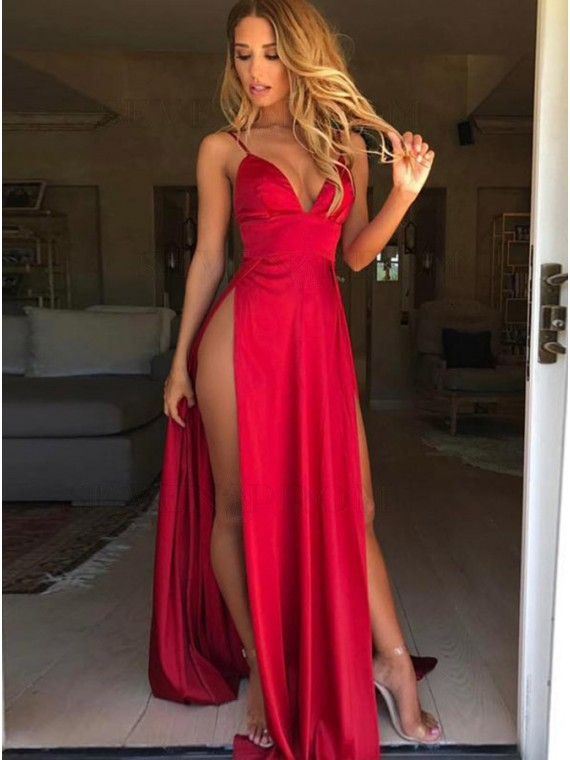 A-Line Spaghetti Straps Sweep Train Red Prom Dress with Split