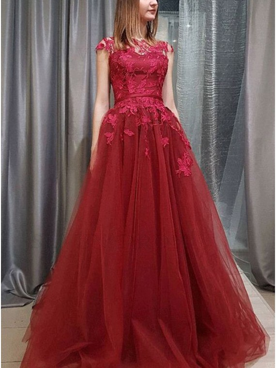 A-Line Crew Sweep Train Burgundy Prom Dress with Appliques