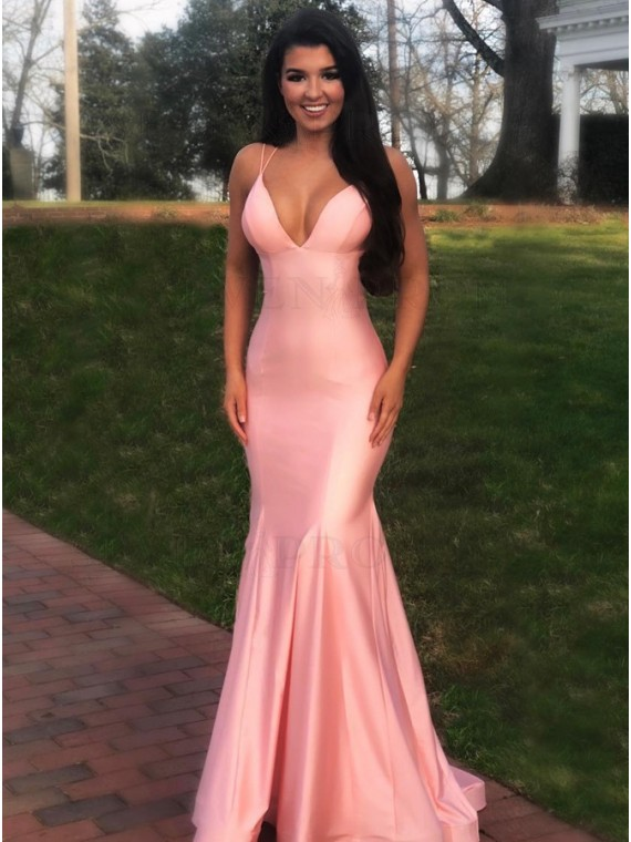Long Pink Prom Dress Tight Mermaid Formal Gown
