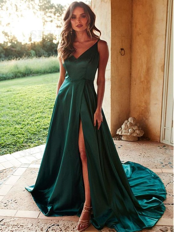 A-Line V-Neck Satin Long Prom Dress with Split Dark Green Evening Dress
