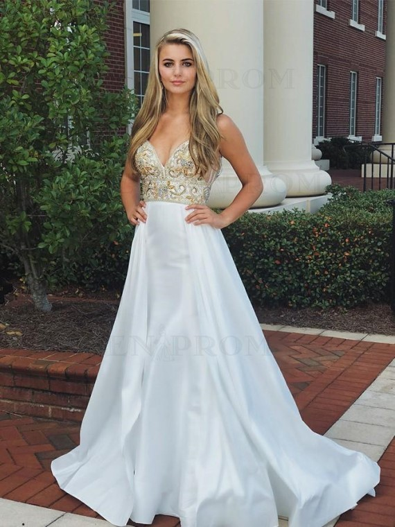 Modest Spaghetti Straps White Prom Dress with Beading Backless Evening Dress