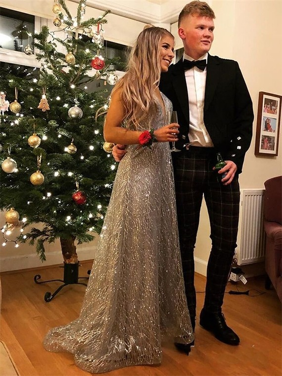 Popular V-Neck Long Silver Prom Dress with Beading Sequin Evening Dress
