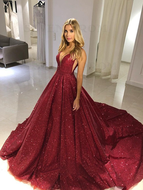 Sparkly V-Neck Sleeveless Long Burgundy Prom Dress with Sequin Evening Dress