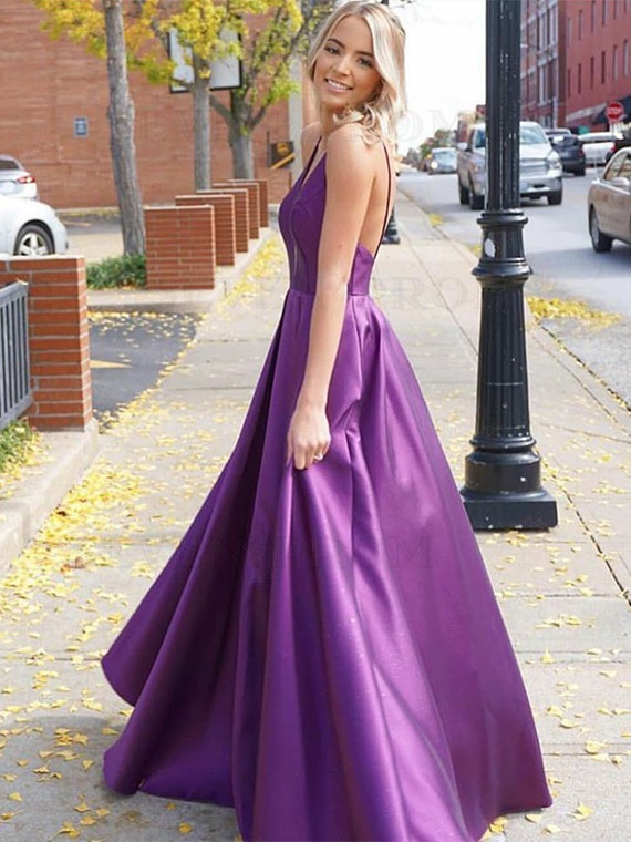 Simple A-Line Purple Prom Dress V-Neck Sleeveless Open Back Prom Gown