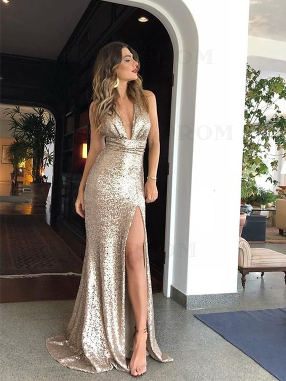 Mermaid Deep V-Neck Long Champagne Prom Dress with Split Sequin Evening Dress