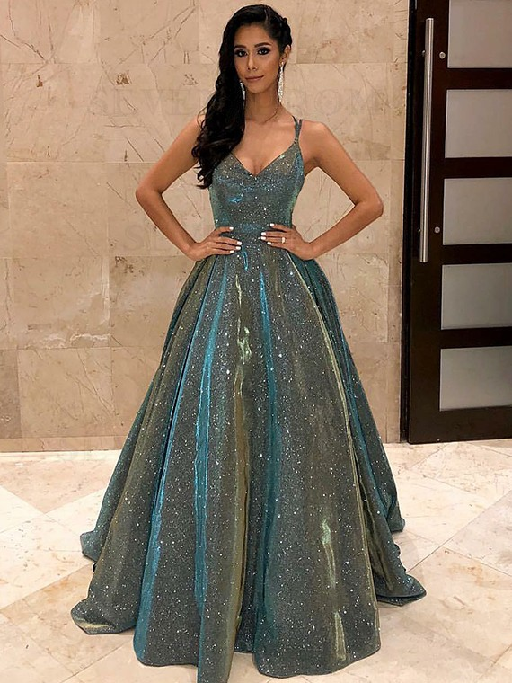 Spaghetti Straps Sage Sleeveless Long Prom Dress with Sequin Evening Dress