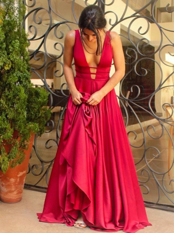 A-Line Deep V-Neck Long Red Prom Dress Sleeveless Backless Party Dress