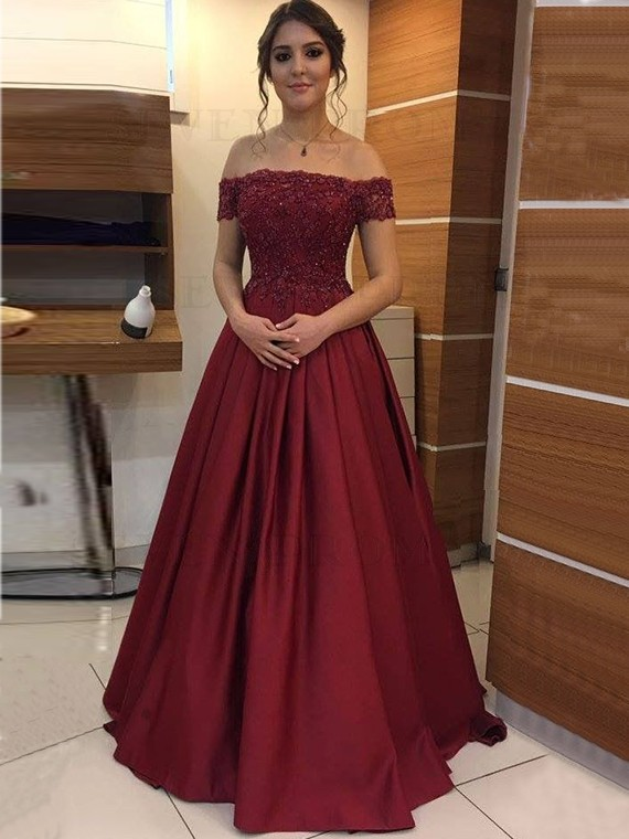Elegant Off-the-Shoulder Long Burgundy Prom Dress with Sleeves Appliques