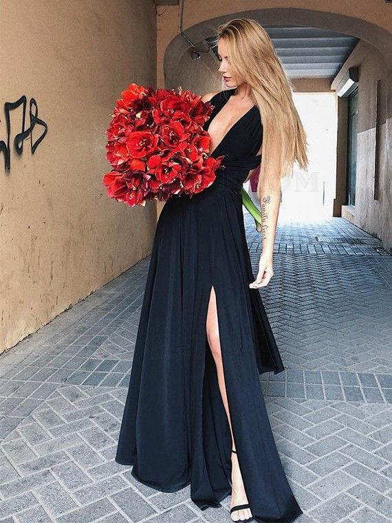V-Neck Long Simple Prom Dress with Split Sleeveless Black Party Dress