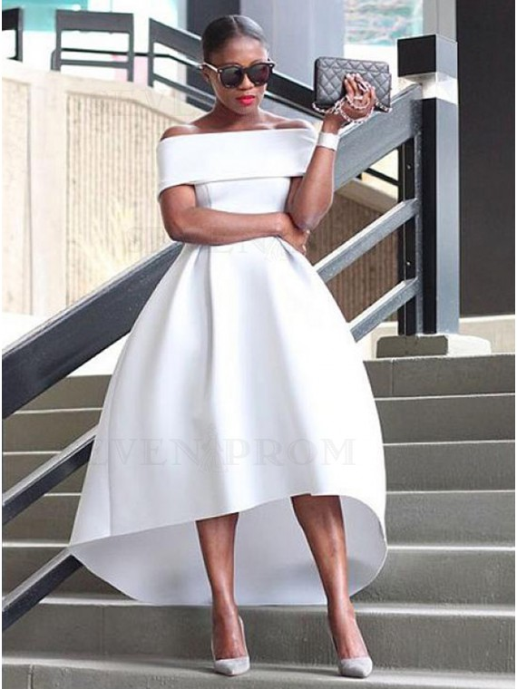 Simple Off-the-Shoulder White Prom Dress with Sleeves High Low Party Dress