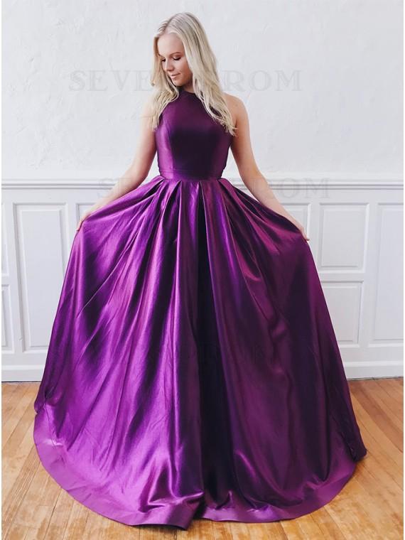 Unique A-Line Jewel Open Back Long Purple Prom Dress