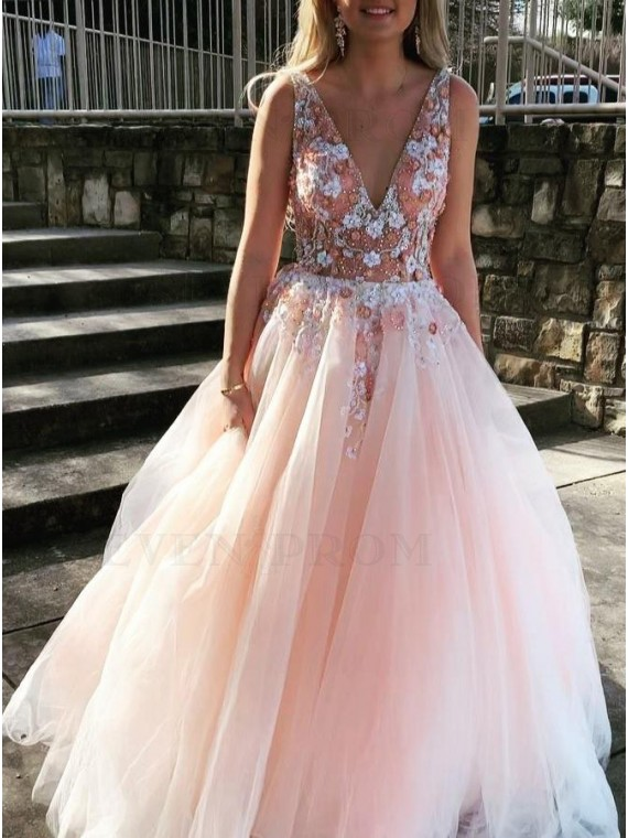 Deep V-Neck Backless Long Pearl Pink Prom Dress with Appliques Beading