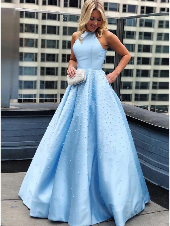 A-Line Sleeveless Long Halter Blue Prom Dress with Pearls Pockets
