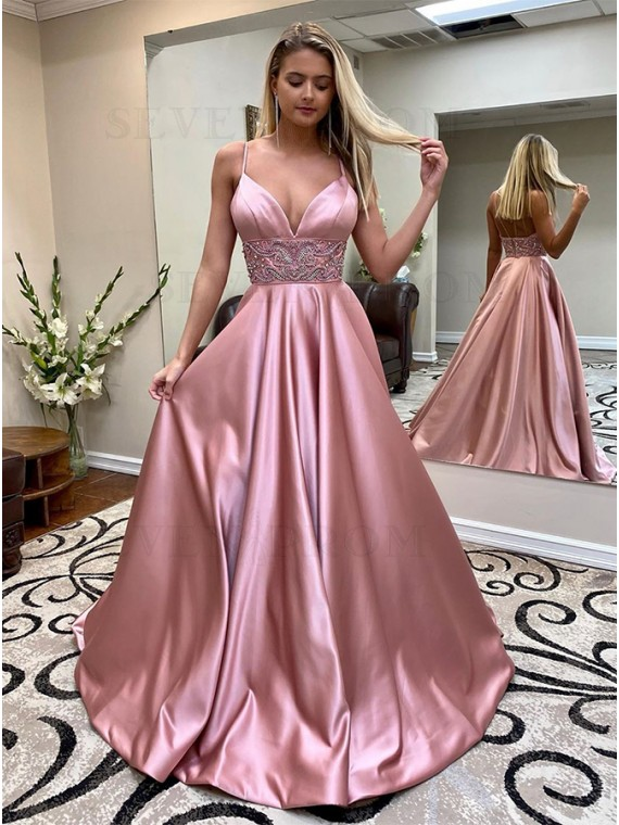 A-Line Blush Prom Dress with Beading Long Formal Gown