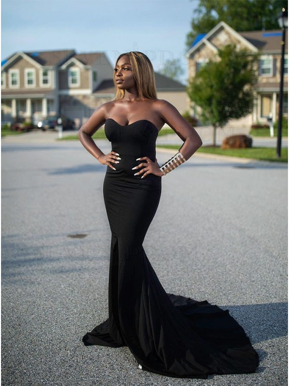 Long Sweetheart Black Prom Dress with Split Mermaid Evening Dress