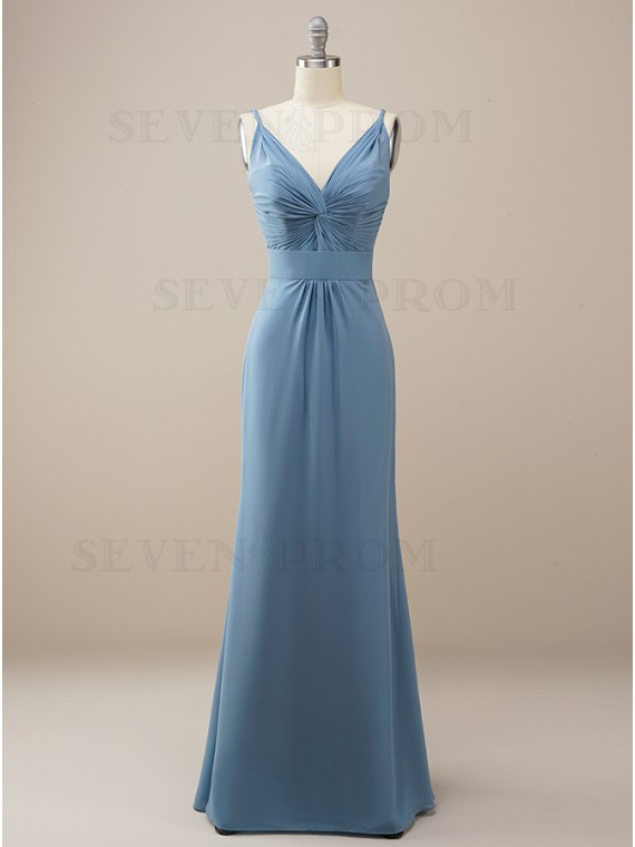 V-neck Long Dusty Blue Bridesmaid Dress