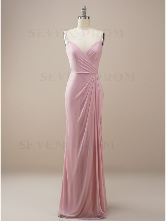 Column Long Dusty Rose Wedding Party Dress