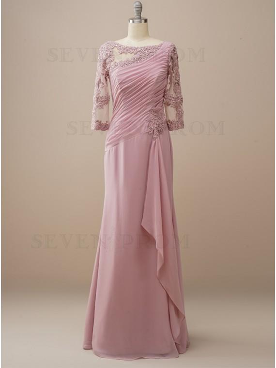 Long Dusty Rose Wedding Party Dress